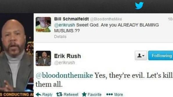 Twitter menjadi medan kritikan terhadap orang islam, beberapa jam selepas pengeboman Boston marathon,