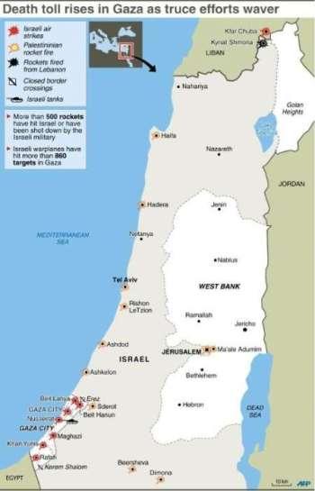 kawasan pengeboman udara laut dan darat israel dan kawasan dimana roket hamas telah mendarat