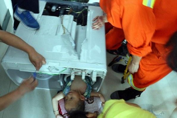 Toddler Aged 3 Cut Free From Washing Machine