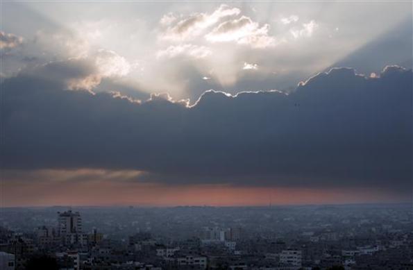 Pagi yang indah, Matahari mula naik di Gaza
