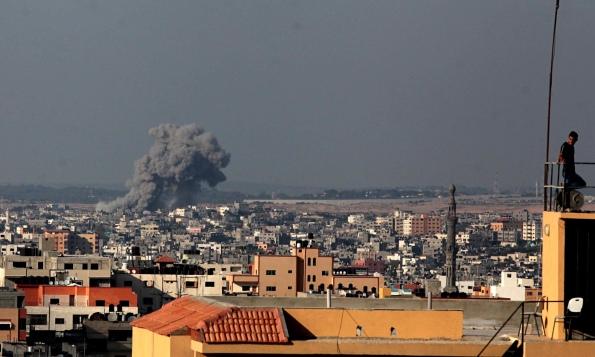 Smoke rises from Israeli airstrike on Gaza City