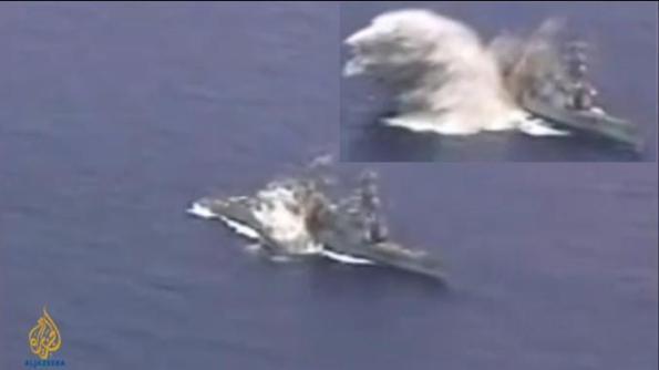 5 torpedo di lepaskan, 2 tersasar, 3 telah menghentam kapal USS Liberty