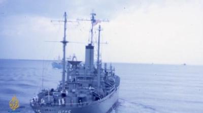 USS Liberty boleh di lihat dari jauh ketika itu, Israel sengaja telah mengebom, menembak cannon dan melancarkan roket 25 maut