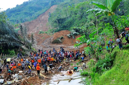 At least 12 people dead and 100 people still missing after a landslide in Banjarnegara district of Central Java province