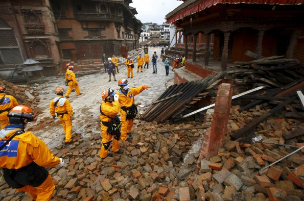 Japanese rescue team members observe the affected areas upon their arrival after the earthquake in Kathmandu