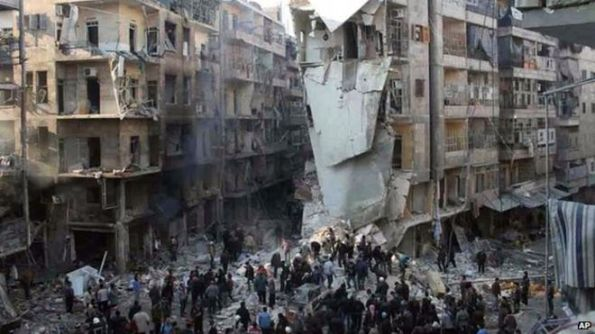 Activists said more than 70 people were killed when barrel bombs hit Aleppo in mid-December