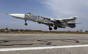 A Russian Sukhoi Su-24 attack aircraft